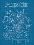 Austin Artistic Blueprint Map Posters av Christopher Estes