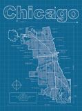 Chicago Artistic Blueprint Map Plakat av Christopher Estes