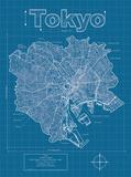 Tokyo Artistic Blueprint Map Art by Christopher Estes