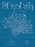 Munich Artistic Blueprint Map Pôsters por Christopher Estes