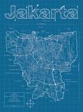 Jakarta Artistic Blueprint Map Poster von Christopher Estes