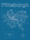 Pittsburgh Artistic Blueprint Map Art by Christopher Estes