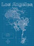 Los Angeles Artistic Blueprint Map Affiche par Christopher Estes