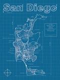 San Diego Artistic Blueprint Map Prints by Christopher Estes