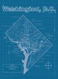 Washington DC Artistic Blueprint Map 高品質プリント : Christopher Estes