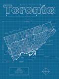 Toronto Artistic Blueprint Map Poster di Christopher Estes