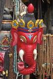 Mask of Ganesha, a Hindu God, on Sale at Swayambhunath Stupa (Monkey Temple) Reproduction photographique par Peter Barritt