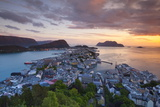 Elevated View over Alesund Illuminated at Sunset Photographic Print by Doug Pearson