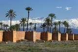 The Old City Walls and Snow Capped Atlas Mountains, Marrakech, Morocco, North Africa, Africa 写真プリント : スチュアート・ブラック