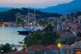 View over Old Town at Dusk, Cavtat, Dubrovnik Riviera, Dalmatian Coast, Dalmatia, Croatia, Europe Fotografisk trykk av Frank Fell