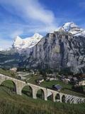 Mt Eiger, Mt Jungfrau and Mt Monch, Murren, Bernese Oberland, Switzerland Photographic Print by Hans Peter Merten