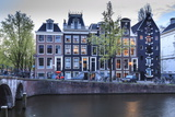 Old Gabled Houses Line the Keizersgracht Canal at Dusk, Amsterdam, Netherlands, Europe Photographic Print by Amanda Hall