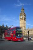 Motion Blurred Red London Bus Below Big Ben Reproduction photographique par Stuart Black