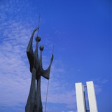 Os Candangos Monument, Brasilia, Brazil Photographic Print by Geoff Renner