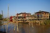 Wooden Bridge, Ywama Village, Inle Lake, Shan State, Myanmar (Burma), Asia Reproduction photographique par  Tuul
