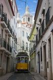 Famous Tram 28 Going Through the Old Quarter of Alfama, Lisbon, Portugal, Europe Fotografisk trykk av Michael Runkel