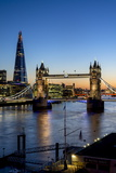 View of the Shard and Tower Bridge Above the River Thames at Dusk Reproduction photographique par Charles Bowman