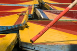 Close Up of the Colourful Wooden Boats at the Floating Gardens in Xochimilco Reproduction photographique par John Woodworth