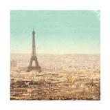 Eiffel Landscape Letter Blue II Premium Giclee Print by Sue Schlabach
