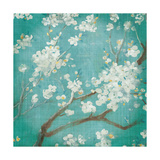 White Cherry Blossoms I on Blue Aged No Bird Giclée-Premiumdruck von Danhui Nai