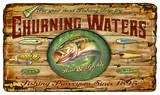 Churning Waters Bait and Tackle Fishing Vintage Wood Sign Wood Sign