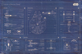 Star Wars - Rebel Alliance Fleet blueprint Plakater