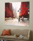 Red Fusion IV Print by  Luc
