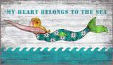 Diving Mermaid My Heart Belongs To The Sea Wood Sign Wood Sign