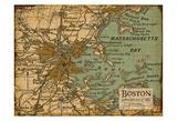 Environs Boston Sepia Plakat av Carole Stevens