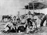 Indian British Army Officers at Sudan Fotografie-Druck