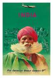 India - Sikh in Red Turban - Pan American World Airways (PAA) Impressão giclée