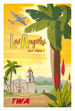 Los Angeles - Trans World Airlines Fly TWA! - California Spanish Mission Giclee Print