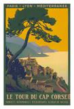 Corsica Island, France - Le Tour Du Cap Corse - Chemins de fer de Paris-Lyon-Méditerranée Railway Impressão giclée por Roger Broders