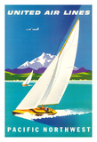 Pacific Northwest - United Air Lines - Sailboats and Snow Capped Glacier Mountains Giclee Print by Joseph Binder