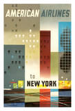 To New York - American Airlines Giclée-tryk af Weimer Pursell