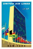 United Nations Building, New York - United Air Lines Giclée-tryk af Joseph Binder
