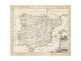 Karte von Spanien Kunstdrucke von T. Jeffreys