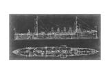 Navy Cruiser Blueprint Prints by Ethan Harper