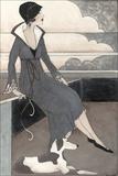 Art Deco Lady with Dog Kunstdrucke von Megan Meagher