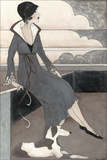 Art Deco Lady with Dog Poster van Megan Meagher