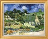 Thatched Cottages at Cordeville Stampe di Vincent van Gogh