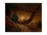 Two Men Contemplating the Moon Lámina giclée por Caspar David Friedrich