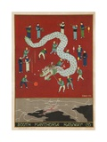 The South Manchuria Railway Travel Poster Dragon Float Giclée-Druck