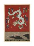 The South Manchuria Railway Travel Poster Dragon Float Lámina giclée