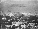 Overhead View of Hong Kong Harbor Lámina fotográfica