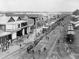 Overview of Town and Railroad Tracks Lámina fotográfica