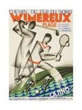 Wimereux Plage French Railroad Travel Poster Impressão giclée