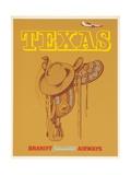Braniff International Airways Travel Poster Texas Saddle Giclée-Druck
