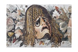 Detail of Roman Mosaic Depicting Tragic Mask with Leaves and Fruit Giclee Print