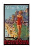 Pennsylvania Railroad Travel Poster, Atlantic City Bathing Beauty Giclée-tryk